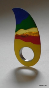 ring - silicon and amber