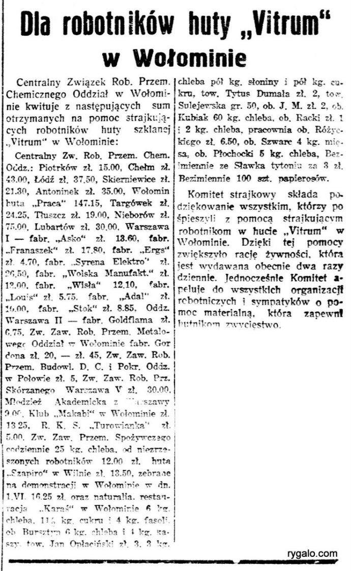 Robotnik : organ Polskiej Partyi Socyalistycznej., R.43, nr 167 (8 czerwca 1937)