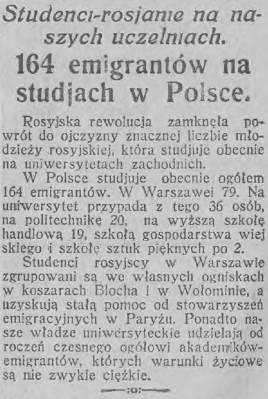 Ognisko rosyjskich emigrantów w Wołominie