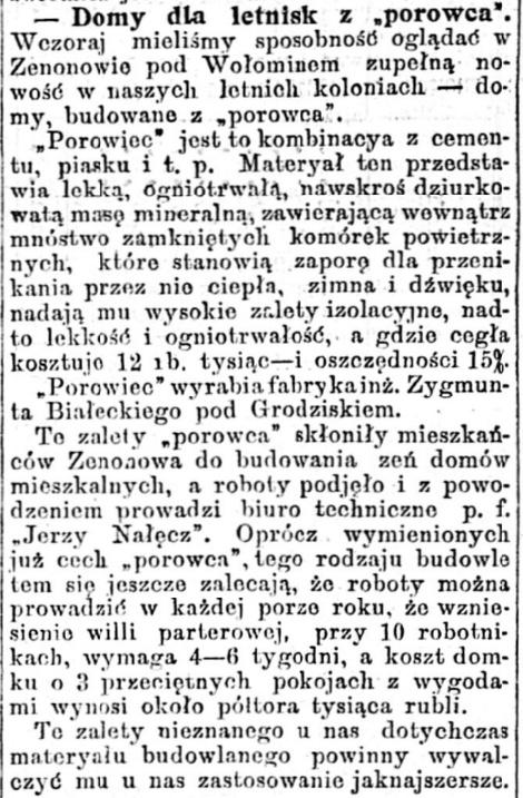 Porowiec w Zenonowie